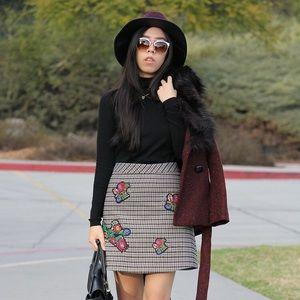 ZARA Embroidery Applique Plaid Mini Skirt